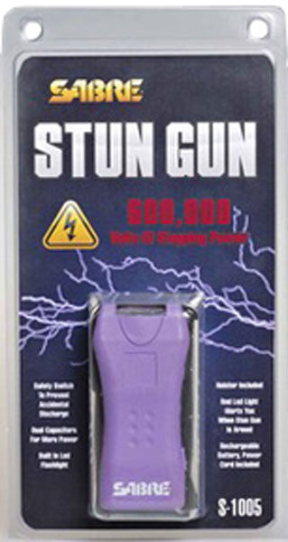 Sabre Dual Capacitor Stun Gun with LED Flashlight Purple