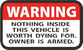 WARNING Label Owner Armed Window Decal