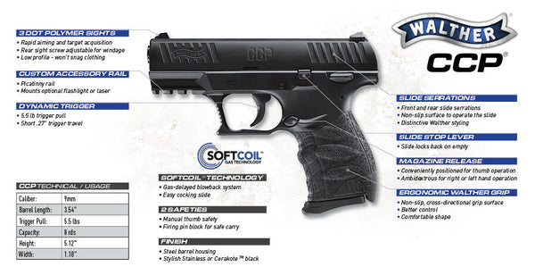 Walther CCP 9mm Centerfire Pistol Features