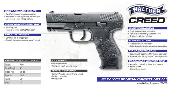 Walther Creed 9mm Centerfire Pistol Features