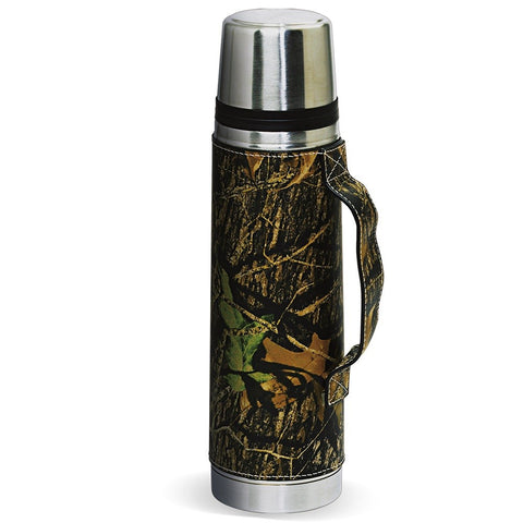 Camo Leather Vacuum Beverage Thermos Bottle by Webers Camo Leather Goods