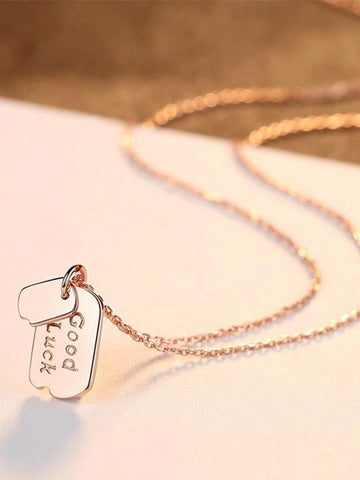 Good Luck Dog Tag Necklace