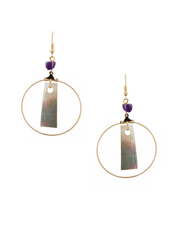 Amethyst Seaside Hoop Earrings