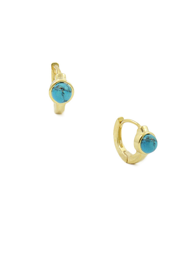 Turquoise Stud Huggie Earrings