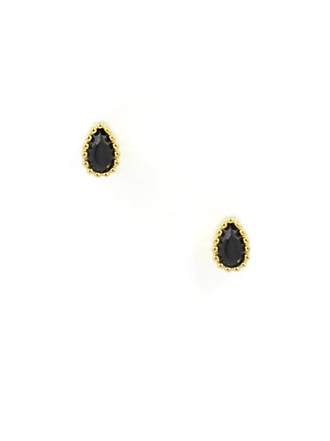Mini Black Teardrop Studs