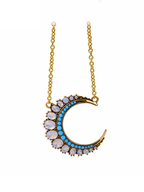 Bejeweled Moon Necklace