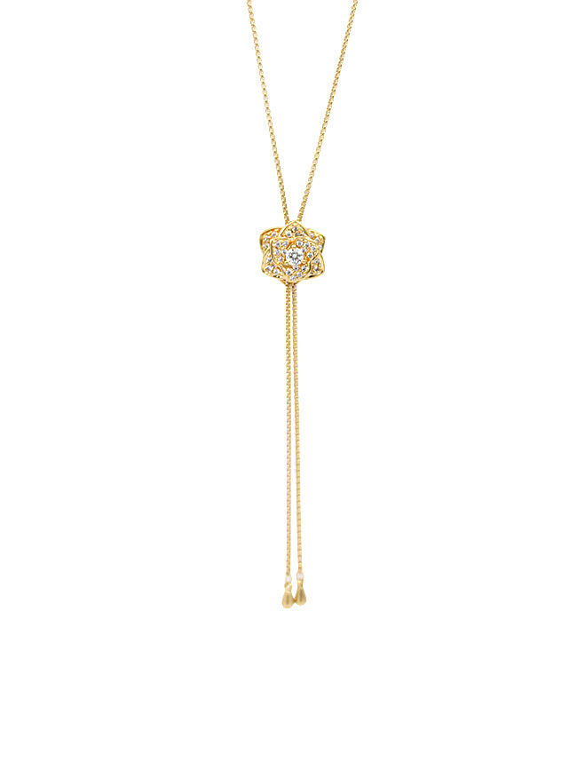 Studded Flower Lariat Necklace
