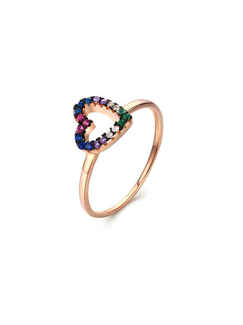 Multi Color Heart Ring
