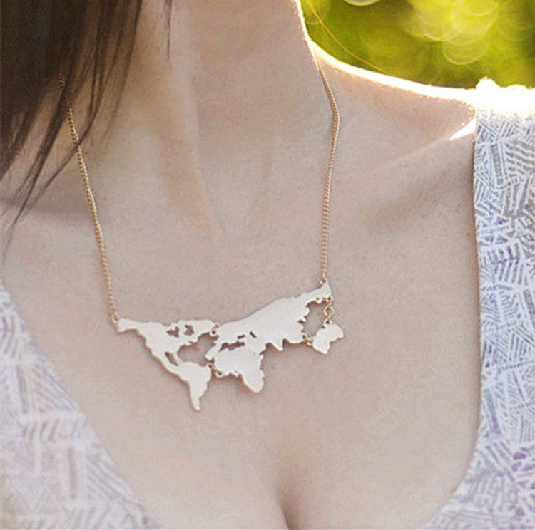 World map necklace seek for chic necklace world map necklace gumiabroncs Choice Image