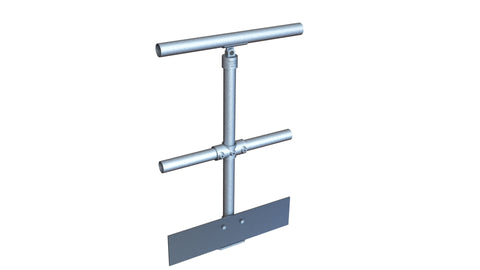 TC 48122 - Mobility single handrail stanchion with mid-rail and kick plate TubeClamp Fitting by Solid Dynamics Australia