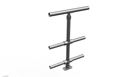 TC 48130 - Mobility single handrail stanchion with mid and bottom rail Tubeclamp Maleable Cast