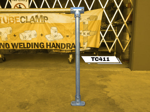 TC 411 - Continuous Intermediate Single Railing (1R) Stanchion Post Galvanized Tubeclamp Maleable Cast