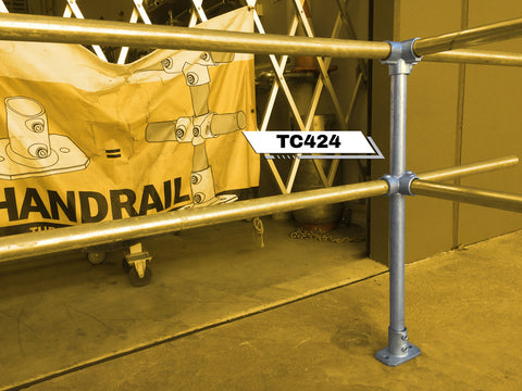 TC 424 - Three Junction Double Railing (2R) Stanchion Post Galvanized Tubeclamp Maleable Cast