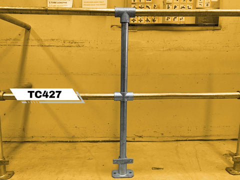 TC 427 - Double Safety Railing Stanchion Galvanized Tubeclamp Maleable Cast