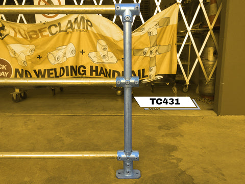 TC 431 - Continuous Intermediate Triple Railing (3R) Stanchion Post Galvanized TubeClamp Fitting by Solid Dynamics Australia