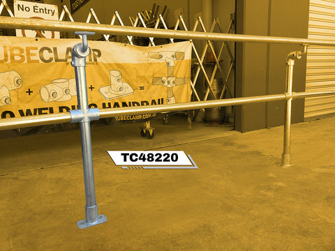 TC 48220 - Mobility off set single handrail stanchion with mid rail Tubeclamp Maleable Cast