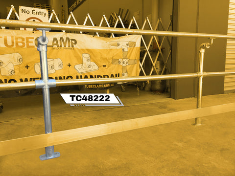 TC 48222 - Mobility off set single handrail stanchion with mid rail and kick plate TubeClamp Fitting by Solid Dynamics Australia