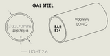 "Bar Tube Gal B34 (25NB Light, 1.00"") x 2.6mm thick"