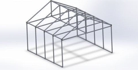 "TC K 521 - Freestanding Outdoor Shelter ""Greenhouse"" (Frame Only) Tubeclamp Maleable Cast"