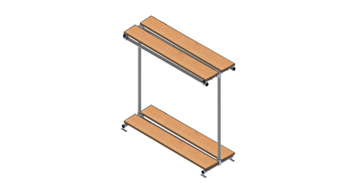 "TC 914.1 ""Hawaii"" Dual Shelf with Hanging Rails and Shoes Display TubeClamp Fitting by Solid Dynamics Australia"