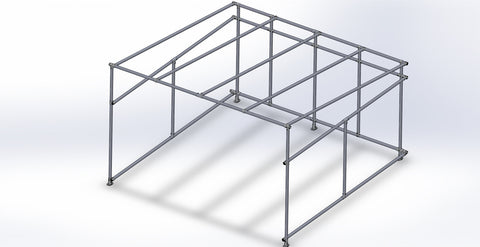 TC K 520 - Outdoor Shelter Side Sloping Roof (Frame Only) Tubeclamp Maleable Cast