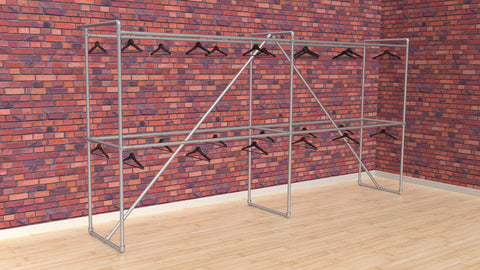 "TC 904.1 ""Warehouse"" Clothes Rack 2m high x 4m long Tubeclamp Maleable Cast"