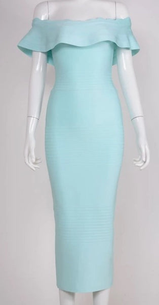 Honey Round Neck Capsleeve Sky Blue Peplum Bandage Dress