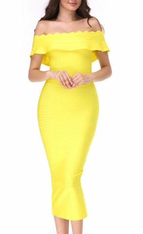 Honey Round Neck Capsleeve Yellow  Peplum Bandage Dress