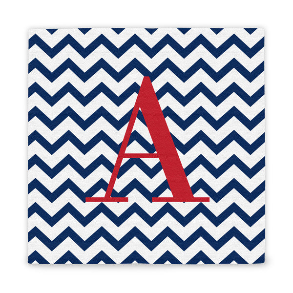 Chevron Pattern Initial Wrapped Canvas