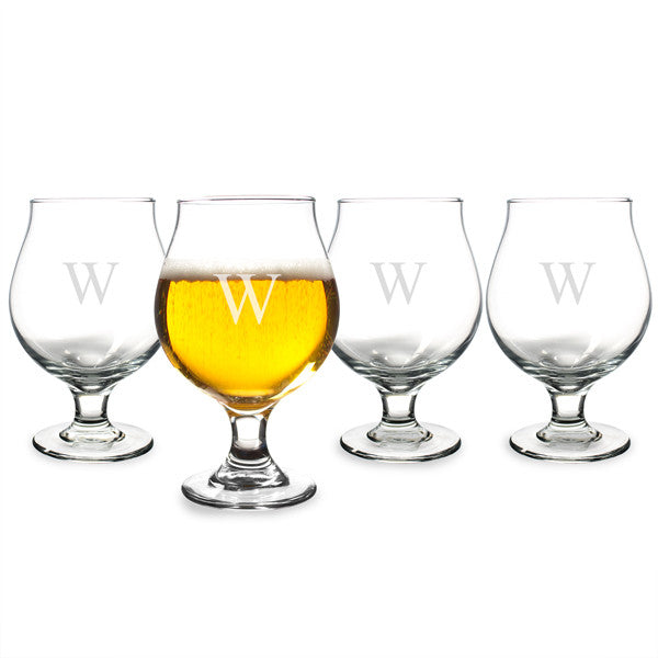 Personalized 16 oz. Belgian Beer Glasses (Set of 4)