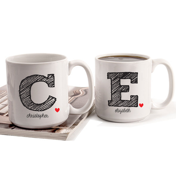 Personalized 20 oz. Initial Large Coffee Mugs (Set of 2)