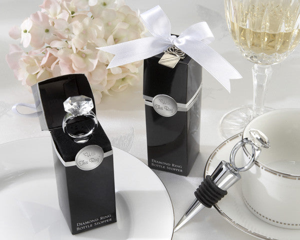"""With This Ring"" Chrome Diamond-Ring Bottle Stopper"