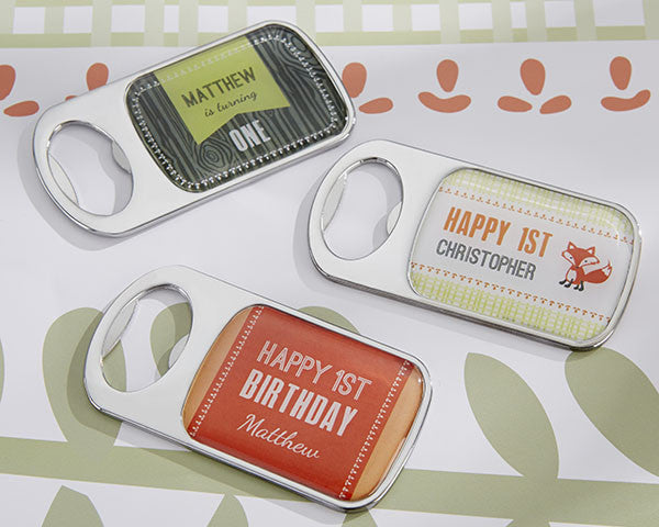 Personalized Bottle Opener with Epoxy Dome - Kate's Woodland Birthday Collection