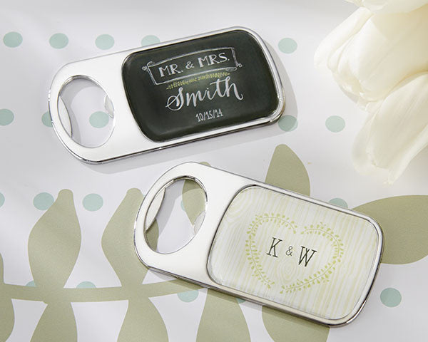 Personalized Bottle Opener with Epoxy Dome - Kate's Rustic Wedding Collection