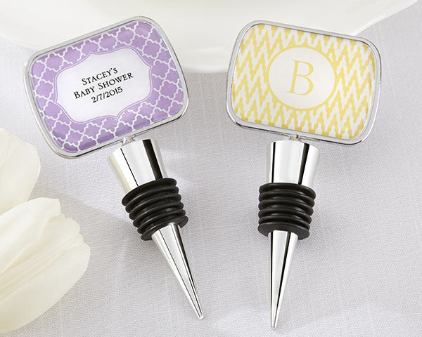 Personalized Bottle Stopper With Epoxy Dome - Baby Shower