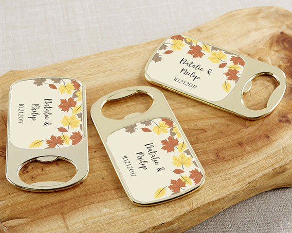 Personalized Gold Bottle Opener with Epoxy Dome - Fall Leaves