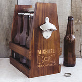 Personalized Groomsmen Rustic Craft Beer Carrier with Bottle Opener