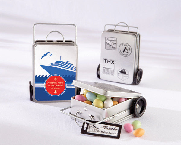 """Miles of Memories"" Suitcase Favor Tins (Set of 12) (Personalization Available)"