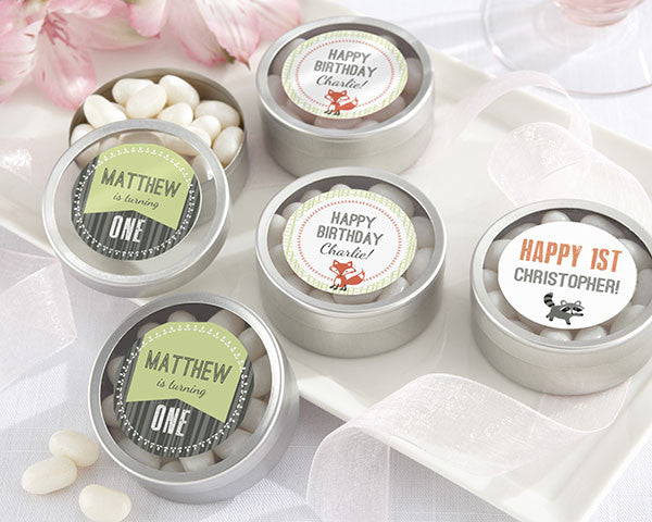 Personalized Silver Round Candy Tin - Woodland Birthday Collection (Set of 12)