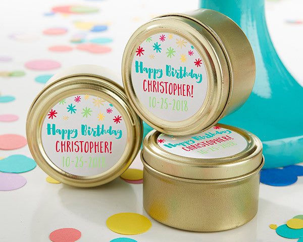 Personalized Gold Round Candy Tin - Happy Birthday (Set of 12)