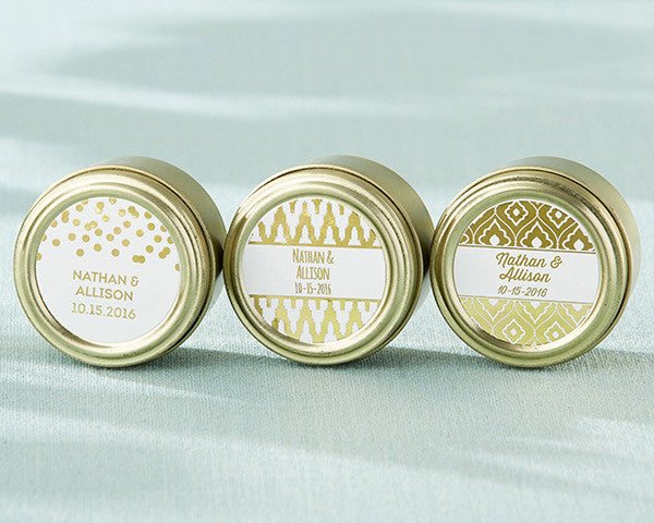 Personalized Gold Round Candy Tin - Gold Foil (Set of 12)