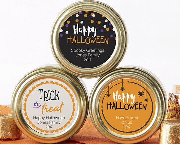 Personalized Gold Round Candy Tin - Halloween (Set of 12)