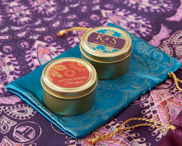Personalized Gold Round Candy Tins - Indian Jewel (Set of 12)