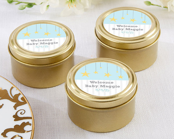 Personalized Gold Round Gold Candy Tin - To the Moon & Back (Set of 12)