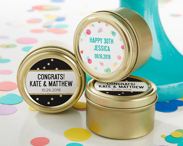 Personalized Gold Round Candy Tin - Party Time (Set of 12)