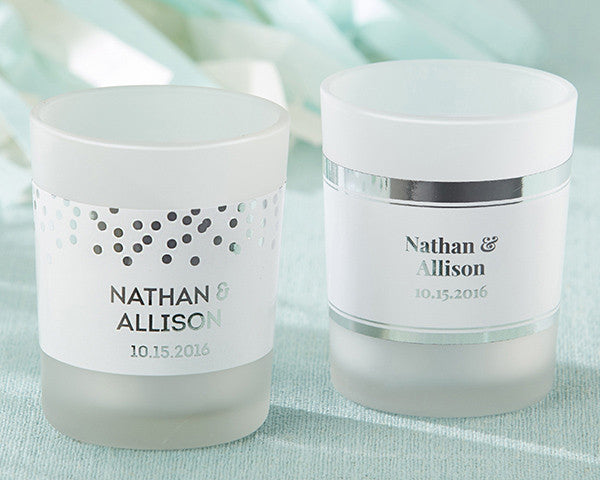 Personalized Frosted Glass Votive - Silver Foil