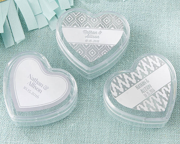 Heart Favor Container - Silver Foil (Set of 12)
