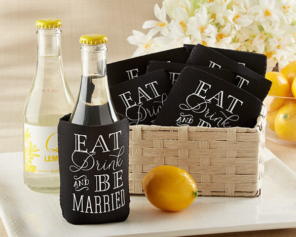 """Eat, Drink & Be Married"" Collapsible Insulated Can Holder (Set of 12)"