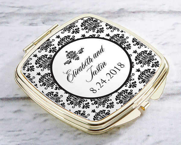 Personalized Gold Compact - Damask
