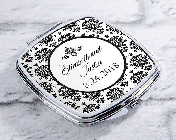 Personalized Silver Compact - Damask